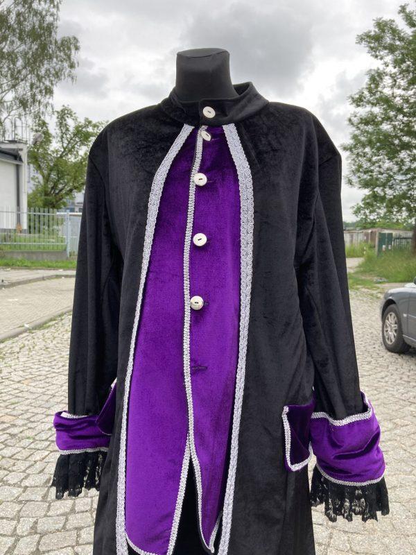 Kontusz szlechecki stroj barokowy czarno fioletowy L 3
